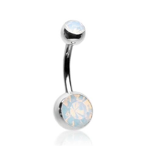 Opalite Double Gem Surgical Steel Belly Bar