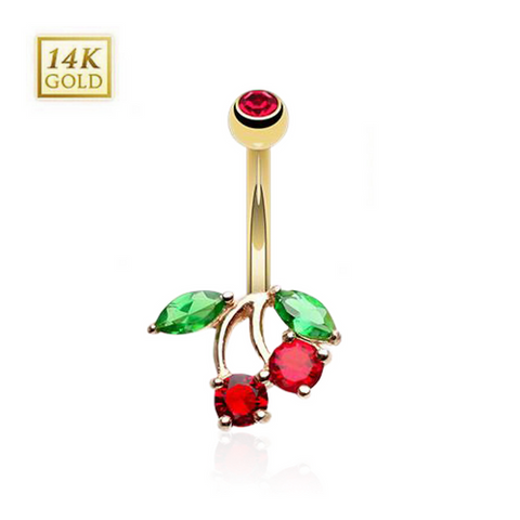 14k Gold Cherry Belly Ring