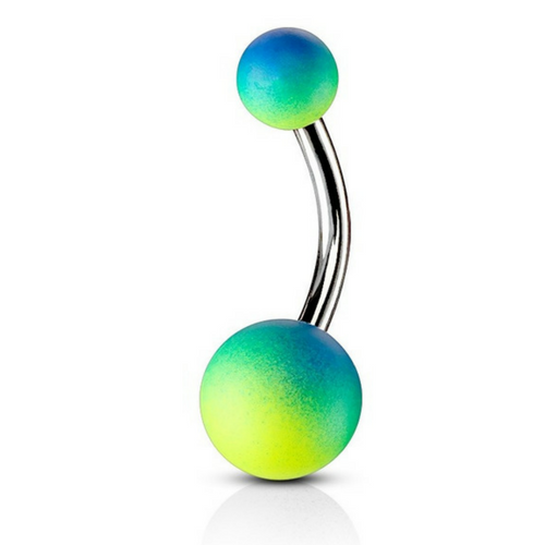 Blue/Green Splice Rubber Ball Belly Bar