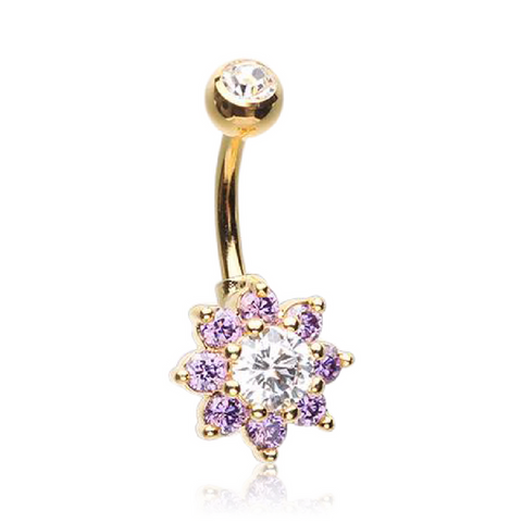 Lavender Petals/Clear Centre Petite Crystal Flower Navel Bar in 14kt Gold