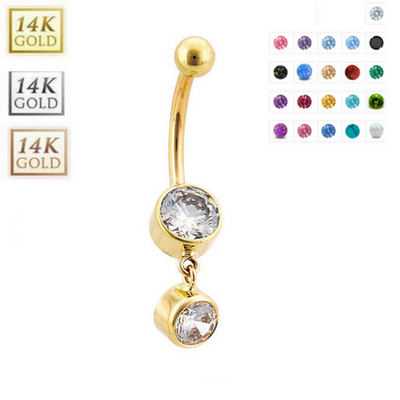 14k Gold Bezel Set Duo Gem Belly Dangle - Handmade Fully Customisable
