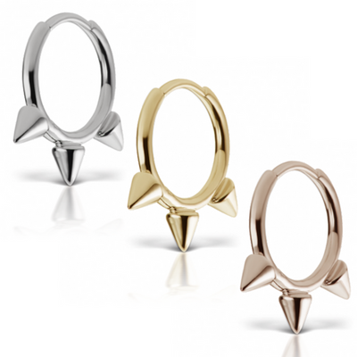 "Designer Maria Tash 10mm - 3/8"" Triple Spike Non-Rotating Ring"