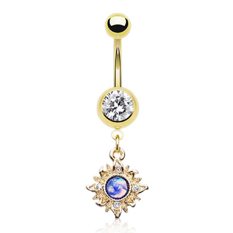 Faux Opal Dangly Belly Ring