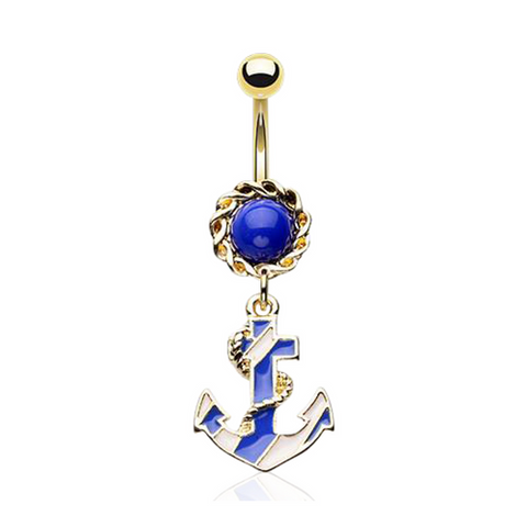 Golden Royal Anchor Belly Button Ring