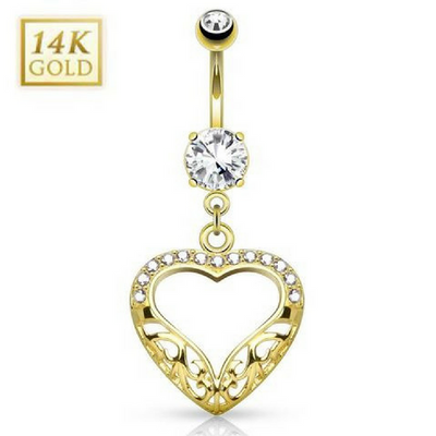 14k Solid Gold Filigree Heart Belly Bar