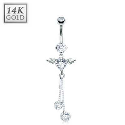Angel Heart 14k White Gold Belly Ring
