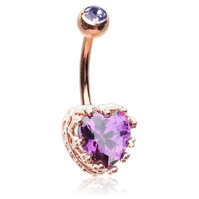 Cubic Zirconia Love Heart Belly Button Bars in 14K Rose Gold Plating.