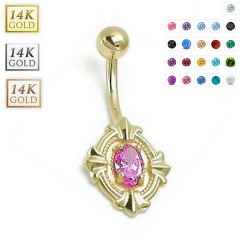 14k Solid Gold Shield Belly Ring - Handmade Fully Customisable