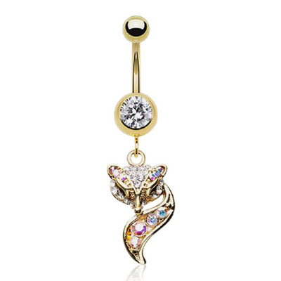 Gold Plated Fox Belly Button Ring