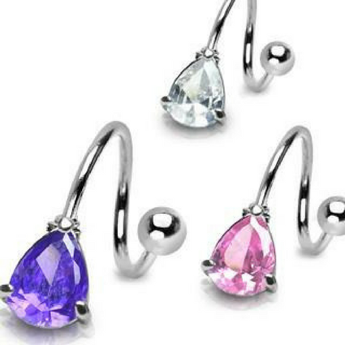 Claw Set Sparkling Tear Drop Gem Spiral Twister Navel Ring