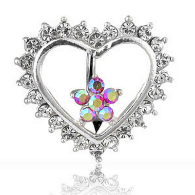 Cute Romantic Themed Love Heart Reverse Belly Ring