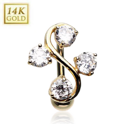 14k Solid Gold Vine Reverse Belly Ring