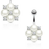 White Pearl Belly Button Rings