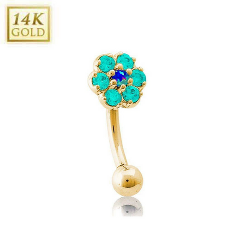 Blue Opal Centre & Cool Mint Green Flower 14k Yellow Gold Reverse Belly Ring