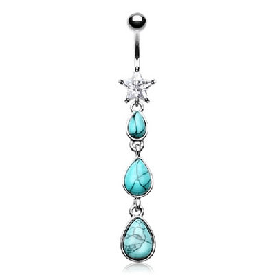 Turquoise Teardrops Shining Star Navel Bar