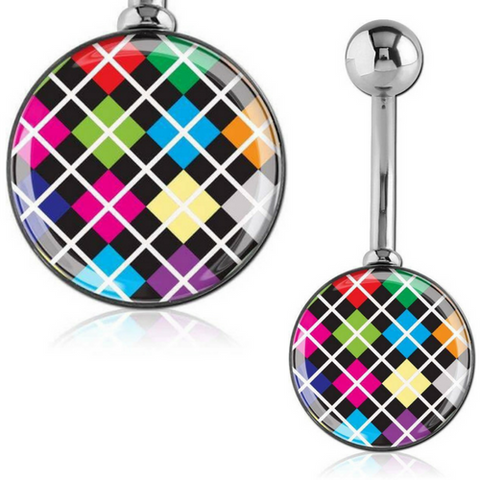 Argyle Print Belly Ring
