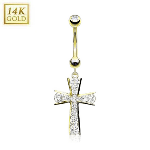 14k Solid Gold Cross Belly Button Ring