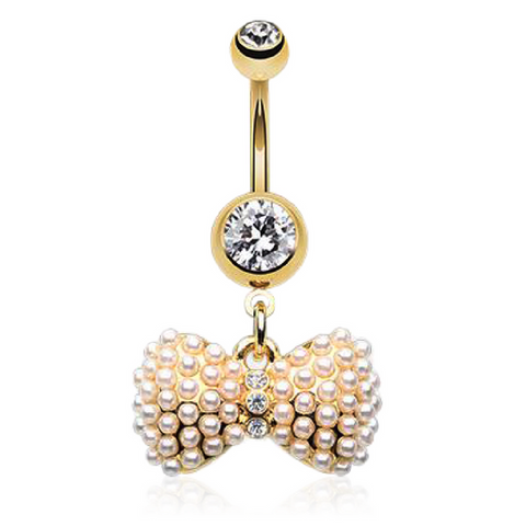 Gold Joëlle Pearled Bow Belly Ring