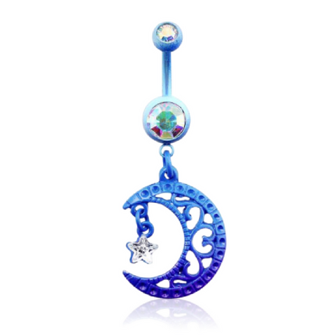 Blue Moon Belly Button Ring