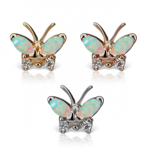 Designer Maria Tash Opal and Diamond Marquise Butterfly Traditional Stud