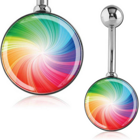 Large 12mm Rainbow Belly Bar