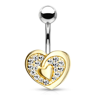 The Tale of Two Hearts Belly Bar in Gold