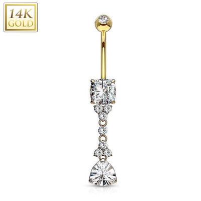 14k Yellow Gold Prestige Dangly Belly Bar