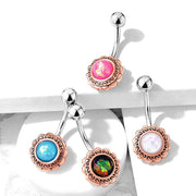 Bohemian Wave Frame Belly Ring. Various Colours. 14g, 10mm, Rose Gold.