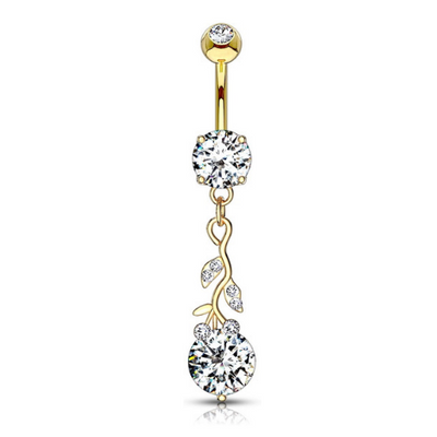 Blooming Crystal Flower Vine Belly Dangle in Yellow Gold