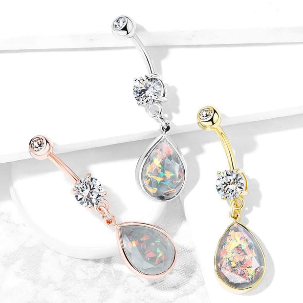 Teardrop Opal Pendant Belly Dangle. 14g, 10mm 316L Steel Belly Ring.