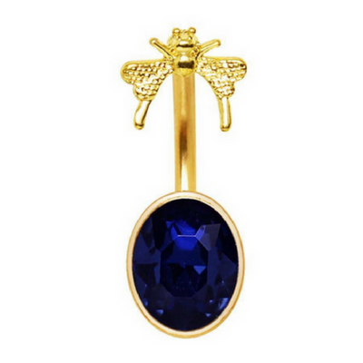 Cute Gold Plated Butterfly Belly Bar with Large Navy Blue Gemstone