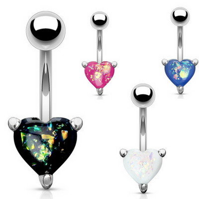 Classic Belly Ring Jewellery with Opals in 316 Surgical Steel.