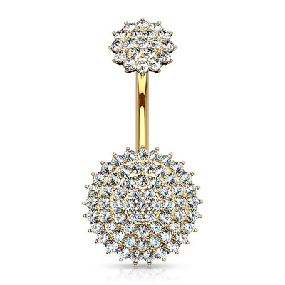 Circlet Pave Diamond Internally Threaded Belly Bar in Gold