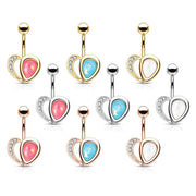 Romantic Classic Love Heart Belly Ring. Rose Gold, 14g, 10mm