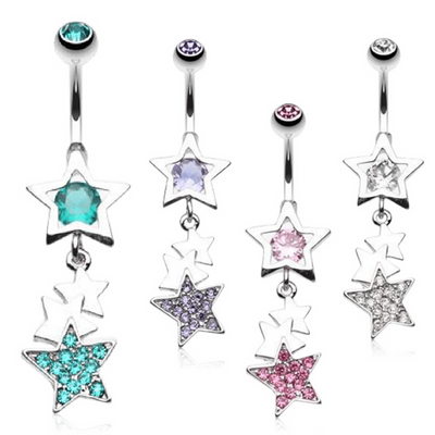 Petite Multi Star Drop Dangly Belly Button Ring