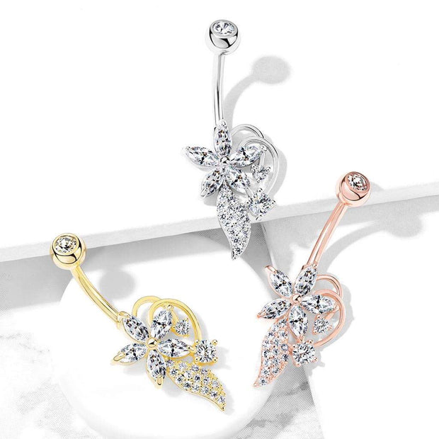 14k Yellow Gold Plated Flower Belly Bar. 14g, 10mm, Fixed Navel Ring.