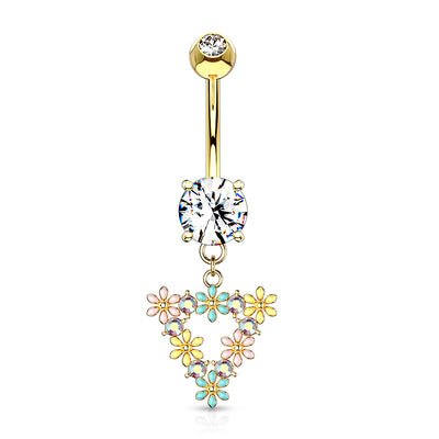Floral Rhapsody Belly Bar in Gold