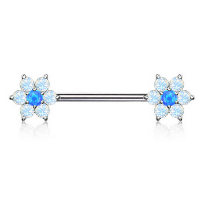 Blue Opalescent Flower Nipple Ring