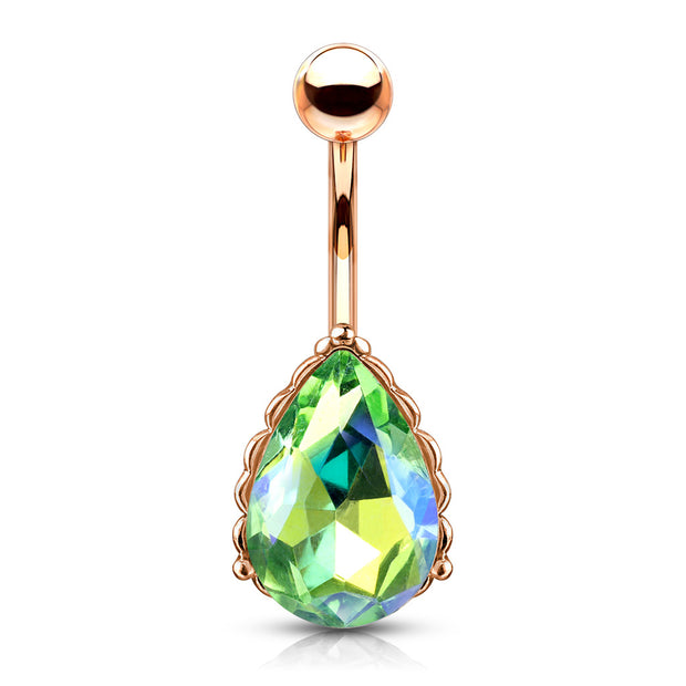 Green - The Lady Aurora Filigree Belly Bar in Rose Gold