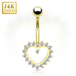 14k Solid Yellow Gold Heart With Sparkling Clear Crystals Fixed Belly Button Ring