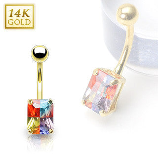 Solid Yellow Gold With A Vibrant Princess Cut Miracle Gem Stone Navel Ring