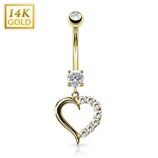 14k Solid Yellow Gold Journey Heart With Sparkling Clear Crystals Dangling Navel Ring