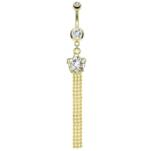 Faceted Crystal Gem Star Gold Plated Dangling Belly Ring