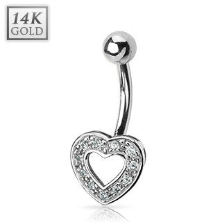 14k Solid White Gold Paved Heart Fixed Belly Button Ring