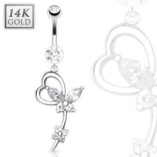Marquise Cut Crystal Butterfly Heart 14k Solid White Gold Dangling Navel Ring