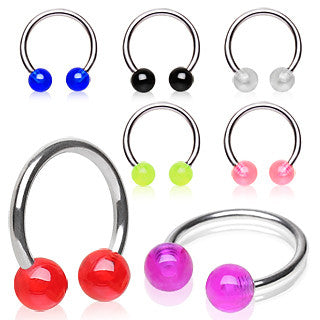 UV Coated 4mm Acrylic Ball Surgical Steel Horse Shoe Navel Ring