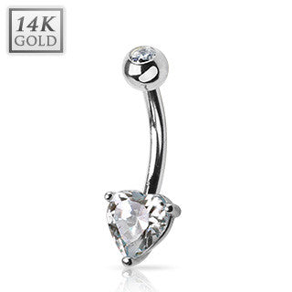 Solid 14k White Gold Solitaire Heart Gem Fixed Navel Ring Jewellery