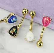 Classic Solitaire Pear Cut Opal Belly Rings in Yellow Gold