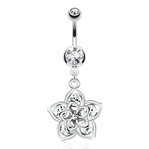 Daisy Flower Dangly Belly Ring