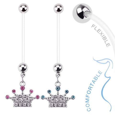 Cute Crown Flexible Pregnancy Belly Rings